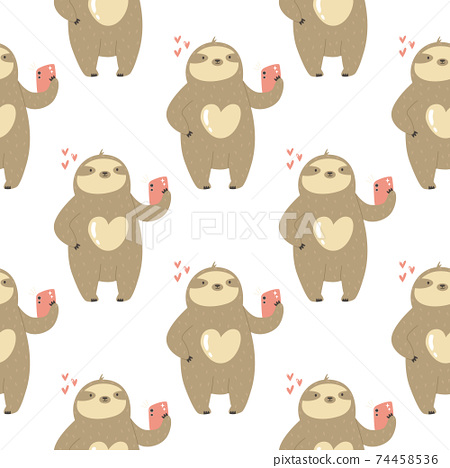 Seamless pattern with cute sloths taking selfies. Vector illustration with funny characters. 74458536