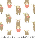 Seamless pattern with cute sloths hanging on a tree. 74458537