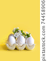 Chicken white eggs with flowers in porcelain box. Easter. Spring. 74458906
