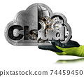 Gloved Hand Showing a Cloud Computing Symbol Isolated on White Background 74459450