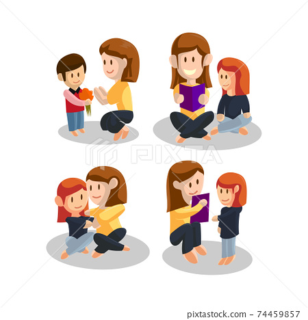 Young mother With Son and Daughter . Happy Mothers Day concept . Vector illustration 74459857