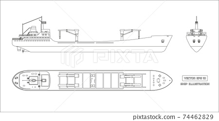 Outline drawing of cargo ship. Top, side and front view. Container transport. Isolated industrial drawing 74462829