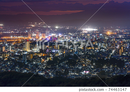 Night view of Morioka city, Iwate prefecture 74463147