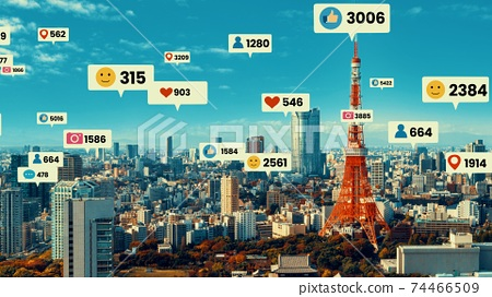 Social media icons fly over city downtown showing people engagement connection 74466509