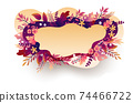 Seasonal autumn hand drawn frame vector background.Fall decorative border with dried leaves,acorns,berries and place for text.Foliage backdrop with forest leafage for social media post banner 74466722