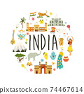 Travel poster with famous destinations and landmarks of India 74467614