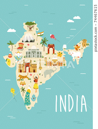 Illustrated map of India with famous landmarks, symbols and animals. 74467615