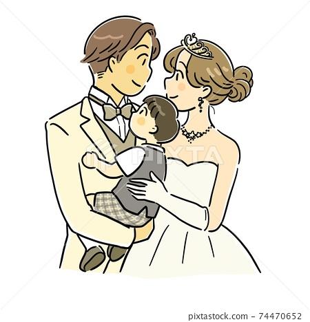 一對夫婦和孩子們舉行婚禮 74470652