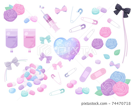 生病的可愛插圖材料set_medicine_rose_ribbon_heart 74470718