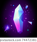 Abstract trendy cosmic poster with crystal gems and pyramid geometric shapes in space. Neon galaxy background. 80s style. Poster with geometric polygon pyramid or crystal. Vector illustration. 74472381