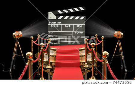 Podium with clapperboard, 3D rendering 74473659