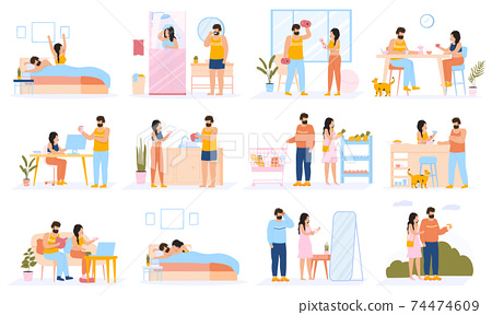 Couple everyday routine. Daily leisure and work activities of young couple, happy family lifestyle. Everyday couple life scenes vector illustration set 74474609