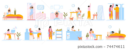 Daily women routine. Everyday woman work and leisure activities, female character daily life scenes. Girl everyday schedule activities vector illustration set 74474611