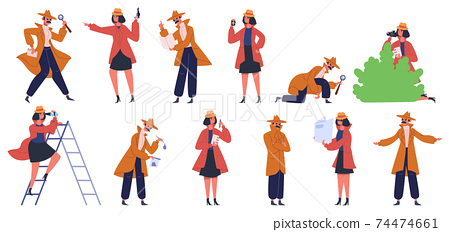 Detective character. Male and female private detectives and inspectors investigate crime and look for evidence. Police detectives vector illustration set 74474661