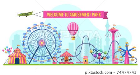 Amusement park landscape. Attractions park ferris wheel, roller coaster and carnival carousel view. Festive park entrance vector illustration 74474743