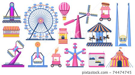 Attractions festive park. Amusement park attractions, ferris wheel, circus tent, and fairground carousel. Carnival entertainment park vector illustration set 74474745
