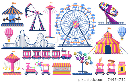 Amusement park. Circus festival tent, roller coaster, train, ferris wheel and carnival carousel. Kids entertainment park vector illustration set 74474752