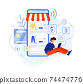 Boy write review about purchase in internet shop 74474776