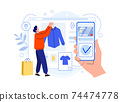 Shopping online with smartphone, man choosing clothes 74474778