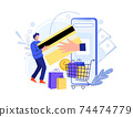 Buy in online shop with smartphone, pay card 74474779