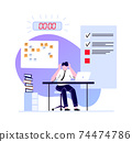 Deadline concept, employee busy and hurry finish work 74474786
