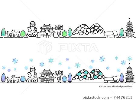 手寫的奈良冬季城市景觀簡單線條藝術集 74476813