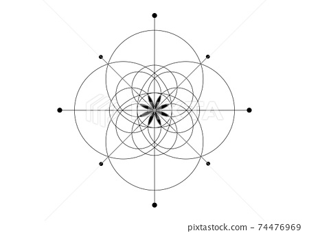 Sacred Geometry, Seed of life symbol. Logo icon Geometric mystic mandala of alchemy esoteric Flower of Life. Vector black line art tattoo divine meditative amulet isolated on white background 74476969