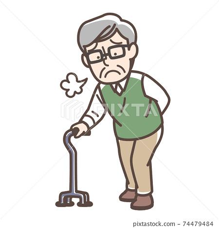 Grandfather who puts a cane 74479484
