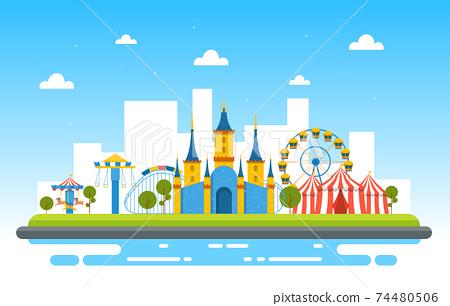 Castle Circus Amusement Park Happy Holiday Illustration 74480506