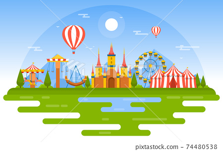 Castle Ferris Wheel Amusement Park Happy Holiday Illustration 74480538