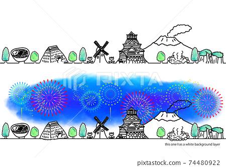 九州城市景觀和煙花簡單線條藝術集 74480922
