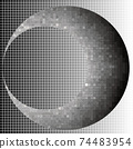 Crescent halftone squares geometric art eps10 vector illustrarion. Background and the moon at different levels. 74483954