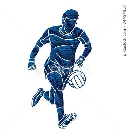 Gaelic Football Male Player Vector 74484867