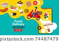 Food Delivery Banner Design, Flat design ,Online order, app, vector illustration. 74487479