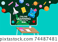 Online Learning, study from home, social distancing, back to school, flat design vector. 74487481