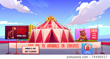 Circus without animals, stop pets abuse concept. 74490017
