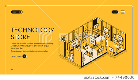 Computer store isometric landing page. Empty mall 74490030