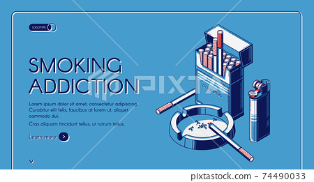 Smoking activity landing banner cigarettes package 74490033