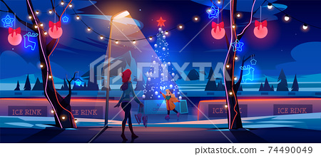 Girl mother night Christmas ice rink with fir tree 74490049