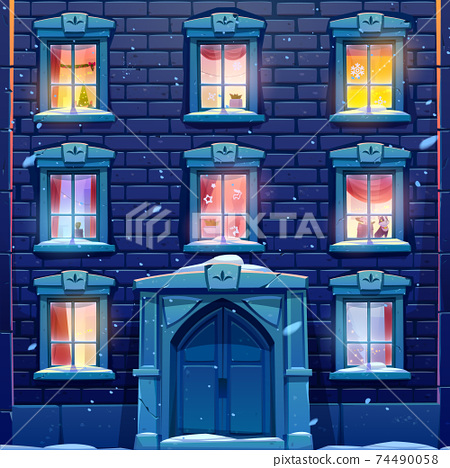 Night windows with Christmas and New Year decor 74490058