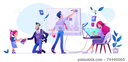 Office work, school education cartoon illustration 74490060