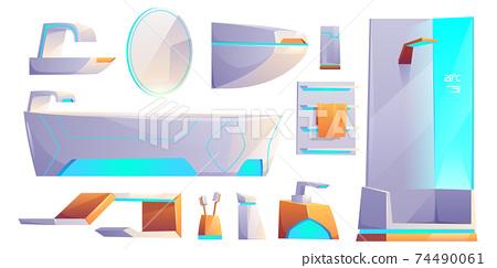 Futuristic bathroom furniture, stuff set isolated 74490061