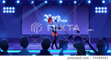 Singer on stage performing rock music concert 74490083
