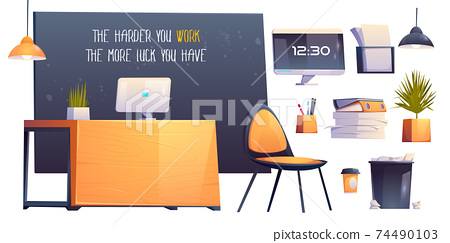 Modern office room interior, business workplace 74490103