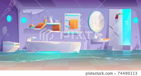 Abandoned futuristic bathroom, flooded interior 74490113