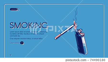 Smoking isometric landing, cigarette and lighter 74490180