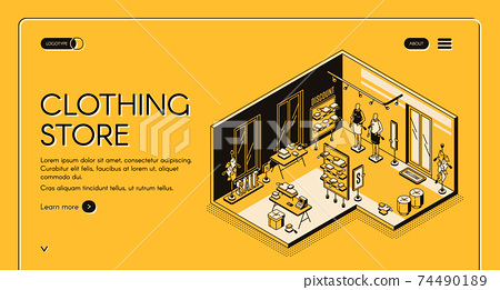 Clothing store isometric landing page. Empty shop 74490189