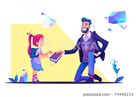 man stand on one knee giving book to little girl 74490214