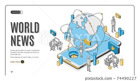 World news isometric landing page, media business 74490227