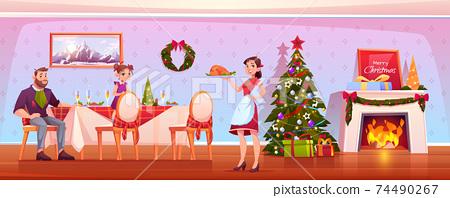 Happy family Christmas dinner, celebrating holiday 74490267